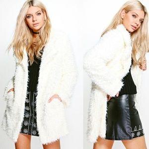 Ivory Shaggy Faux Fur Coat